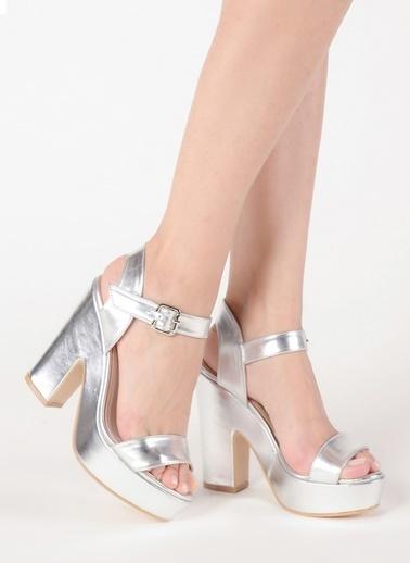 Mecrea Platform Topuklu Sandalet Gümüş